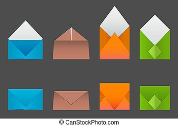 Four types of envelopes made from colored paper.