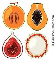 Four types of fresh fruits cut in half
