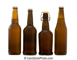 Four types of Home Brew beer bottles