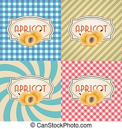 four types of retro textured labels for apricots eps10