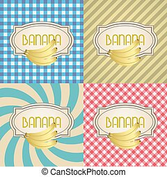 four types of retro textured labels for banana eps10