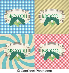 four types of retro textured labels for broccoli eps10