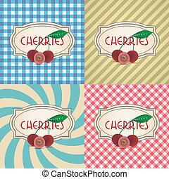 four types of retro textured labels for cherries eps10