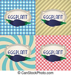 four types of retro textured labels for eggplant eps10
