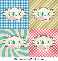 four types of retro textured labels for garlic eps10