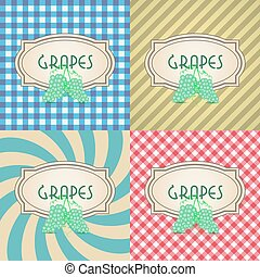 four types of retro textured labels for grapes eps10