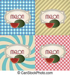 four types of retro textured labels for melon eps10