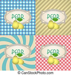 four types of retro textured labels for pear eps10