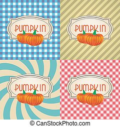 four types of retro textured labels for pumpkin eps10