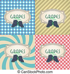 four types of retro textured labels for red grapes eps10