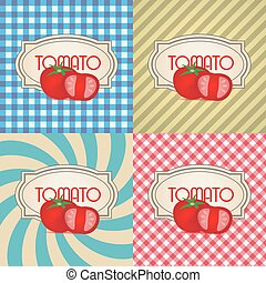 four types of retro textured labels for tomato eps10