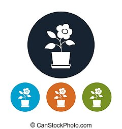 Four Types of Round Icons Flower Pot