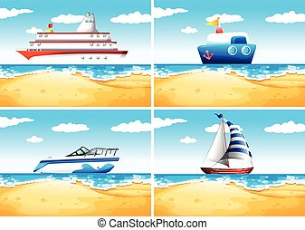 Four types of ships on the sea