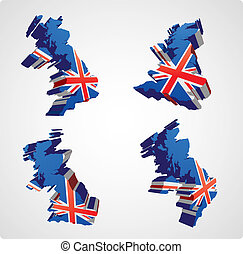 Four UK 3d views - Four perspective views in three...