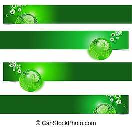 Four unique green earth banners