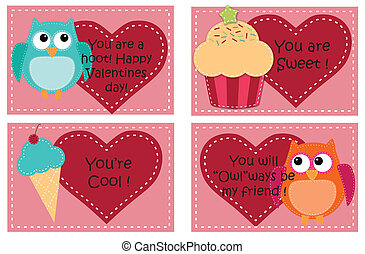 Four valentine card templates