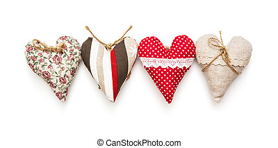 Four valentine hearts on the white background