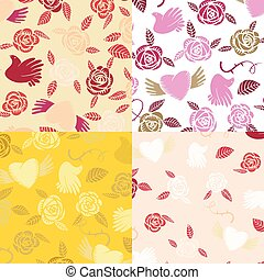 Four Valentine seamless patterns