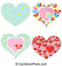 valentine symbolic hearts - four valentine symbolic hearts