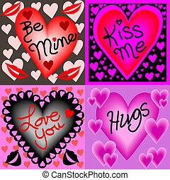 Four valentine wishes - Illustration of four valentine...
