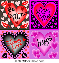 Four valentine wishes - Illustration of four valentine ...