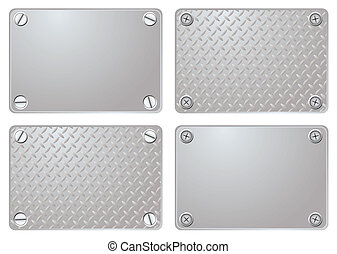 Four variations of a metal plate with different screws