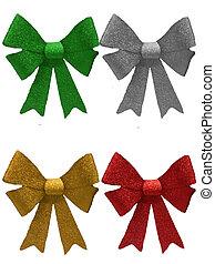 Four various coloured christmas Bows - Sparkly christmas...