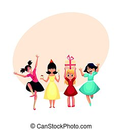 Four various girls in colorful dresses having fun at birthday party