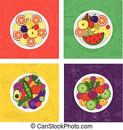 four vector flat illustrations of salads and fruit meals on plate