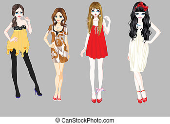 four vector girls isolated