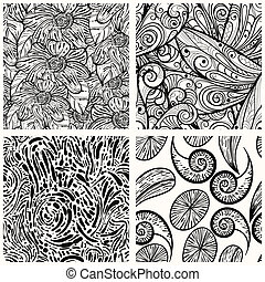 four vector seamless monochrome patterns