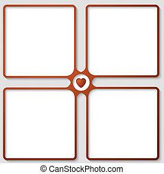 four vector text frame with heart