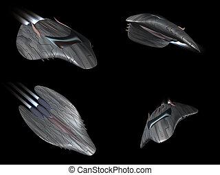 Four views of a powerful spaceship