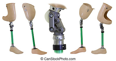 Four views of prosthetic legs and knee mechanism isolated on white