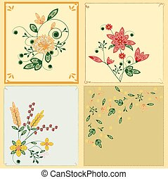 Four vintage card with flowers