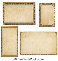 Four Vintage Cards with Ornate Borders - A set of four...