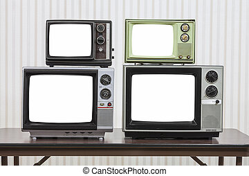 Four Vintage Televisions With Cut Out Screens