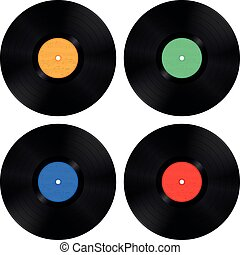 Four Vinyl Records with Music Clef