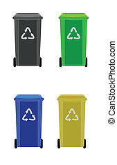 waste container - four waste containers with different color...