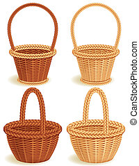 baskets - Four wattled baskets