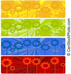 Four web banners with floral design over white background