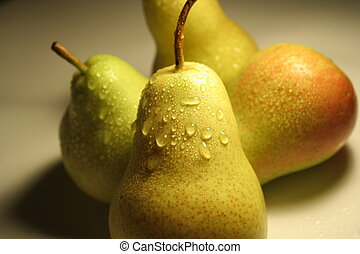 Pears fruits - Four wet Pears fruits