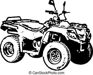 Rough monochrome image - four-wheel motorbike. Vector.
