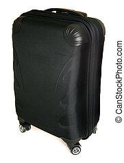 four wheeled suitcase on white background