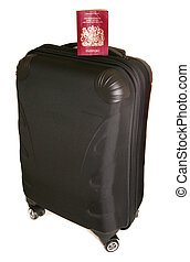 Four wheeled suitcase with passport on white background