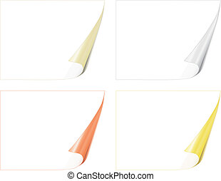 four white bent pages with color backside vector illustration