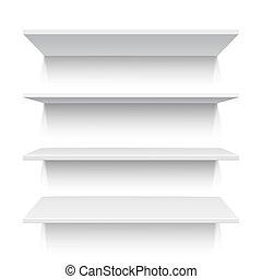 Four white realistic shelves. Vector illustration - Four...