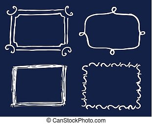 Four White Template Cards Vector Illustration