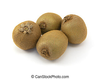 Four whole kiwi fruits with hairy skins