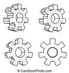 Four wire-frame gears